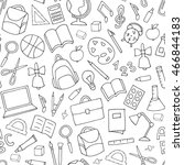 vector school supplies seamless ... | Shutterstock .eps vector #466844183