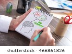 happy thoughts concept drawn on ... | Shutterstock . vector #466861826