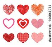 simple red hearts sharp vector... | Shutterstock .eps vector #466865756