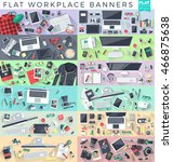 set of flat workplace web... | Shutterstock .eps vector #466875638