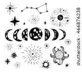 doodle planets and stars.... | Shutterstock . vector #466876238