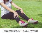 young woman runner resting... | Shutterstock . vector #466879400