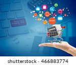 man hand hold market cart sign...   Shutterstock . vector #466883774