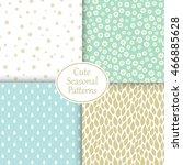 set of cute seasonal patterns.... | Shutterstock .eps vector #466885628