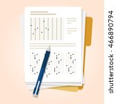 exams quiz test paper with... | Shutterstock .eps vector #466890794