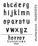 hand drawn alphabet font brush... | Shutterstock .eps vector #466893053