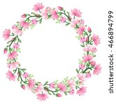 wreath with watercolor romantic ... | Shutterstock . vector #466894799