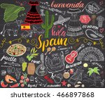 spain hand drawn sketch set... | Shutterstock .eps vector #466897868