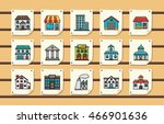 colorful building icons set... | Shutterstock .eps vector #466901636