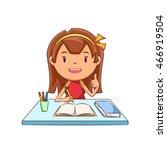happy girl  homework  studying | Shutterstock .eps vector #466919504