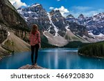 moraine lake is a glacially fed ... | Shutterstock . vector #466920830