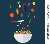 fresh vegetables salad vector... | Shutterstock .eps vector #466924190