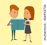 little boy and girl read a book.   Shutterstock .eps vector #466933736