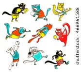 cats athletes in sports wear... | Shutterstock . vector #466961588
