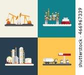 oil industry  oil rig  refinery ... | Shutterstock .eps vector #466967339