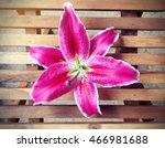 Pink Lily Flower On Wooden...
