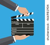 black opened clapperboard in... | Shutterstock .eps vector #466981904