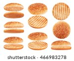 grilled burger bun isolated on... | Shutterstock . vector #466983278