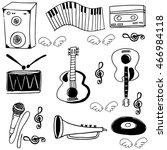 doodle music set element on... | Shutterstock .eps vector #466984118