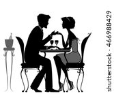 young couple in love sitting ... | Shutterstock .eps vector #466988429