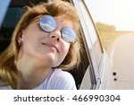 reflection of the sky in solar... | Shutterstock . vector #466990304