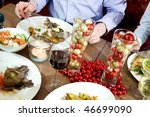 dishes on a restaurant table ... | Shutterstock . vector #46699090