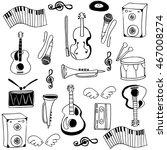 doodle of stock music set... | Shutterstock .eps vector #467008274