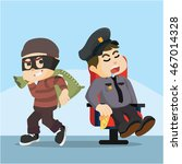 fat police sleeping thief easy... | Shutterstock .eps vector #467014328