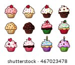 cupcake clipart set  colorful