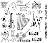 doodle of stock music object... | Shutterstock .eps vector #467035133