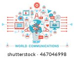 modern flat thin line design... | Shutterstock .eps vector #467046998