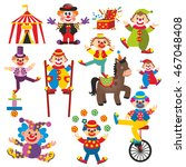 set of clowns in circus | Shutterstock . vector #467048408