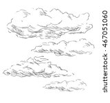 hand sketch clouds. vector... | Shutterstock .eps vector #467051060