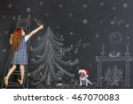 child and her puppy decorates a ... | Shutterstock . vector #467070083