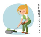 the game of curling. girl... | Shutterstock .eps vector #467072090