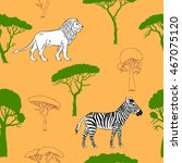 seamless pattern with savanna... | Shutterstock . vector #467075120