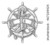 anchor and wheel with ribbon... | Shutterstock .eps vector #467104424