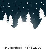 winter night forest with snow... | Shutterstock .eps vector #467112308