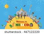 flat design  mexico landmarks... | Shutterstock .eps vector #467122220