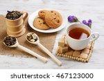 herbal tea and cookies | Shutterstock . vector #467123000