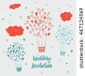 draw by hand wedding postcards... | Shutterstock . vector #467124569