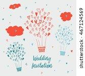 draw by hand wedding postcards...   Shutterstock . vector #467124569