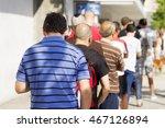 people  queue  in  line up   ...   Shutterstock . vector #467126894