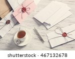 letters with seal on table | Shutterstock . vector #467132678