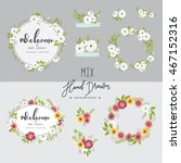 floral hand drawn vector set.... | Shutterstock .eps vector #467152316
