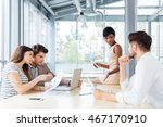four concentrated young... | Shutterstock . vector #467170910