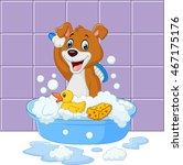 Cute Cartoon Dog Having Bath