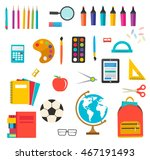 school supplies set with ruler  ... | Shutterstock .eps vector #467191493