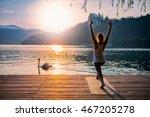 beautiful woman practicing yoga ... | Shutterstock . vector #467205278