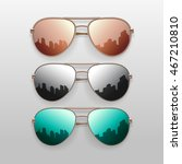 realistic sunglasses set.... | Shutterstock .eps vector #467210810